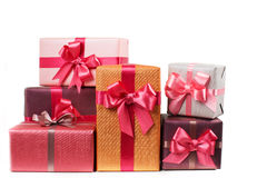 Boxes with gifts isolated on white Royalty Free Stock Photos