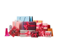 Boxes with gifts isolated Stock Images