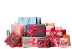 Boxes with gifts isolated Royalty Free Stock Photos