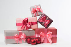 Boxes with gifts isolated on white background Royalty Free Stock Image