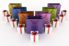Boxes with gifts and multicolor paper bags. 3d illustration of boxes with gifts and multicolor paper bags on a white background Stock Images