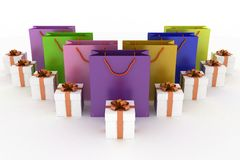 Boxes with gifts and multicolor paper bags. 3d illustration of boxes with gifts and multicolor paper bags on a white background Royalty Free Stock Images