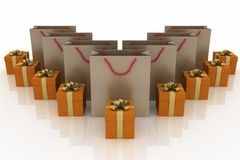 Boxes with gifts and paper bags. 3d illustration of boxes with gifts and paper bags on a white background Royalty Free Stock Photos