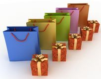 Boxes with gifts and paper bags. 3d illustration of boxes with gifts and paper bags on a white Stock Images