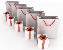 Boxes with gifts and paper bags. 3d illustration of boxes with gifts and paper bags on a white Royalty Free Stock Images