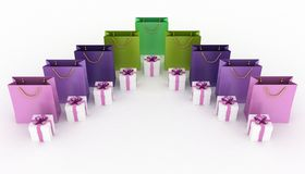 Boxes with gifts and paper bags. 3d illustration of boxes with gifts and paper bags on a white background Stock Images