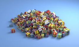 Boxes with gifts. Pile of colored boxes with gifts Stock Images