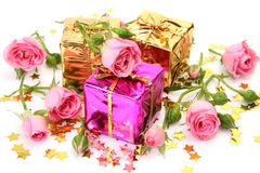Boxes with gifts and roses Stock Photo