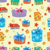 Boxes with gifts. Seamless pattern. Design for children`s textiles and packaging materials, holiday gifts, background image Royalty Free Stock Images