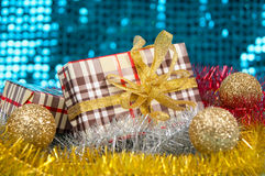 Boxes gifts on shiny background. Royalty Free Stock Photo