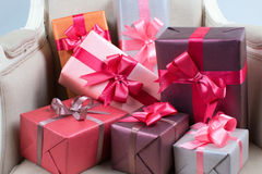 Boxes with gifts. Some boxes with gifts. The concept of the festival Royalty Free Stock Image