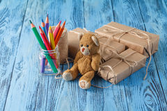 Boxes with gifts surprise, wishes, birthday or holiday a teddy b Stock Photo