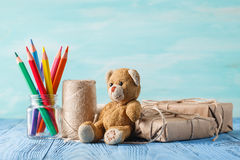 Boxes with gifts surprise, wishes, birthday or holiday a teddy b Stock Image