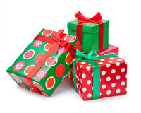 Boxes with gifts tied with red ribbon and bows isolated on white Stock Photo