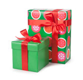 Boxes with gifts tied with red ribbon and bows isolated on white Royalty Free Stock Image