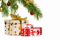 Boxes with gifts under a christmas fur-tree Stock Photography