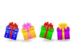Boxes with gifts on a white background Stock Images