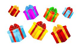 Boxes with gifts on a white background Royalty Free Stock Images