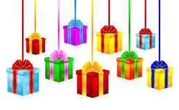 Boxes with gifts on a white background Royalty Free Stock Image
