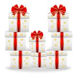 Boxes with gifts on a white background Royalty Free Stock Photos