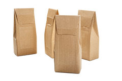 Boxes from the goffered cardboard isolated Royalty Free Stock Images