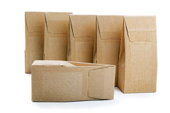Boxes from the goffered cardboard isolated Royalty Free Stock Photography