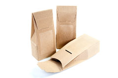 Boxes from the goffered cardboard on  white Royalty Free Stock Photo