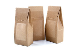 Boxes from the goffered cardboard on a white Stock Photo