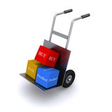 Boxes on hand truck Royalty Free Stock Photo