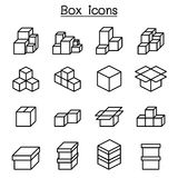 Boxes icon set in thin line style Royalty Free Stock Image