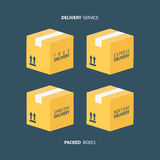 Boxes icons set. Packed boxes. Delivery service. Carton package box icons. Free delivery, express delivery, same day delivery, next day delivery. Vector Stock Photography