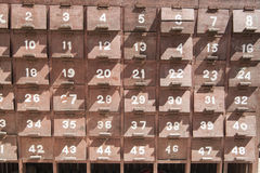 Boxes with identification numbers. Stock Photo