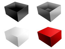 Boxes, isolated. Four boxes, isolated, cropped, on white background Royalty Free Stock Images