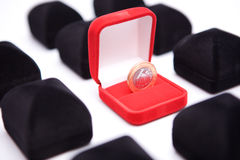 Boxes of jewels with coin Royalty Free Stock Image