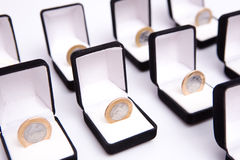 Boxes of jewels with coin Stock Photography