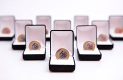 Boxes of jewels with coin Stock Photo