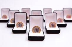 Boxes of jewels with coin royalty free stock photography