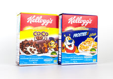 boxes of Kellogg`s breakfast cereal isolated Royalty Free Stock Images