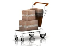 Boxes on light cart Stock Photos