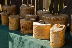 Boxes made from birchbark Stock Photography