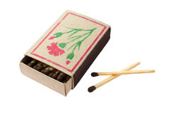 Boxes of matches. On a white background royalty free stock image