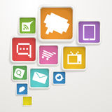 Boxes with media icons Stock Image