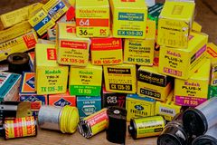Boxes of 35mm photographic colour film, with branded one Analogue film brands Mumbai Maharashtra. 28 Feb 2009 Boxes of 35mm photographic colour film, with royalty free stock photos
