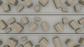 Boxes moving on conveyors, view from above, CGI. A lot of different cartons moving on conveyors Royalty Free Stock Photography