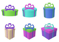 Boxes multi-coloured, different forms. Isolated multi-coloured fancy boxes, square royalty free illustration