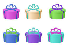 Boxes multi-coloured, round. Isolated multi-coloured fancy boxes, round royalty free illustration