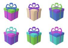 Boxes multi-coloured, square. Isolated multi-coloured fancy boxes, square stock illustration