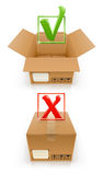 Boxes with OK and cancel mark Stock Image