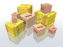 Boxes and packages. Export boxes and packages to deliver Stock Photo