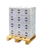 Boxes at pallet. Isolated included clipping path Royalty Free Stock Images